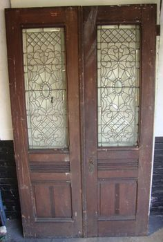 black dog salvage & antique double entrance french doors leaded glass ~ architectural ...