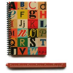 Colorful Letters Notebook Brandacrafts.com ❤ liked on Polyvore featuring home, home decor and stationery