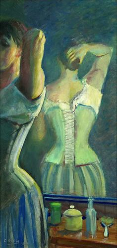 Christian Krohg (Norvegia - Braiding Her Hair - 1888 Lund, Skagen, Hans Thoma, Moonlight Painting, Gustave Courbet, Feminine Mystique, Ludwig, Romanticism, Scandinavian Modern