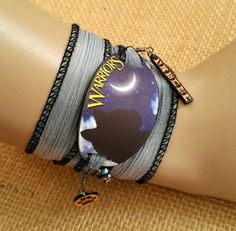 Warrior Cats Bracelet - Wrap Bracelet - Warrior Cats Jewelry - Cat Silhouette…