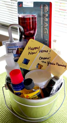 Housewarming Gift Idea ~ Put together a fun bucket of goodies for the new homeowners... Choose a variety of items that are used frequently when moving into a new home or are just nice to have around.