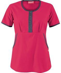 Butter-Soft Scrubs by UA™ Women's Round Neck Button Front Scrub Top… Uniform Clothes, Scrubs Uniform, Scrub Shoes, Lab Coats, Work Uniforms, Medical Scrubs, Nursing Clothes, Caregiver, Work Attire