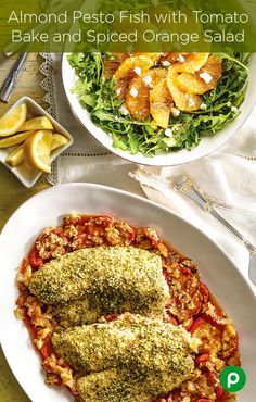 """When your family asks,""""what's for dinner?"""" They will never expect you to say Almond Pesto Fish with Tomato Bake and Spiced Orange Salad. Publix Aprons is full of surprises."""