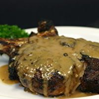 Peppercorn Crusted Rib-eye w/ Brandy Cream Sauce by *** Perez