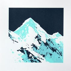 Paul Farrell Mountain View 4 Screen Print: Experience the great outdoors in ice blue and dark grey. 'Mountain View 4' is a limited edition, two colour screen print. The design is available in five colour variations.  Paul Farrell is a designer and printmaker based in Bristol, UK. His bold, colourful, graphic style is inspired by nature and an interest in graphic arts. Before concentrating on a solo career, Paul had worked as a graphic designer in London for 20 years.   He divides his time…
