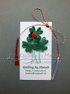 Four Leaf Clovers with Ladybug Quilling Dolls, Quilling Paper Craft, Quilling Patterns, Quilling Designs, Paper Crafts, Paper Art, Paper Quilling Cards, Paper Quilling Flowers, Paper Quilling Jewelry