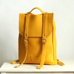 Yellow middle size leather backpack rucksack   To order   Leather Backpack    Yellow leather rucksack   Womens backpack   Christmas Gift b96644c26d1bb