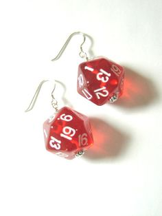 D20 Dice Earrings Choose Your Color Funky Cute 20mm by artaltered, $7.99