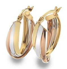 9ct 3 colour Gold Creole Earrings (003054)