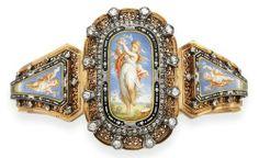 Cherub enamel bracelet, c. 1870....so love this!