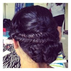 Hair and makeup / Fishtail braided updo via Polyvore