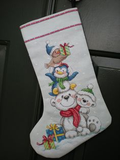 Stack of Critters Cross Stitch Christmas Stocking by CraftyCooper, $95.00