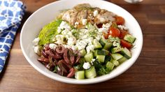 Greek Power Bowls  - Delish.com Start with cauliflower rice instead of quinoa.