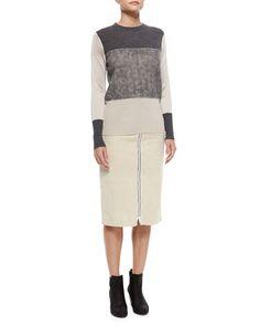 -5YSP Rag & Bone Marissa Colorblock Knit Sweater & Allison Front-Zip Suede Skirt
