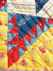 Detail, RARE 1930s Feathered Star Red Indigo Lilac Sunny Yellow Quilt 3 4 inch Tris | eBay, fourthcornerfinds