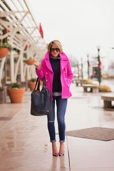 Fucsia coat blue sweater white blue check shirt jeans heels maxi bag