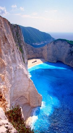 Beautiful Blue Sea, Zakinthos Beach, on the island of Corfu Greece..beach can only be accessed by boat..