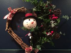 Holiday snowman wreath Christmas wreath Christmas wall by Bedotted