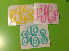 Triple Letter 4 Personalized Vinyl Monogram by PaisleyPeacockGifts, $4.00