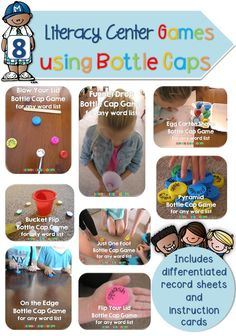 8 x Bottle Cap Literacy Center Games for any Word List {Mini Bundle 1}$ 1. Blow Your Lid 2. On the Edge 3. Egg carton Shake 4. Pyramid 5. Just one Foot 6. Bucket Flip 7. Flip your Lid 8. Funnel Drop