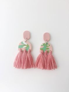 Polymer clay earrings with tassels by Kelaoke on Etsy https://www.etsy.com/listing/543090806/polymer-clay-earrings-with-tassels