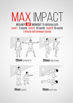 Some workouts are designed to deliver at a high-impact, no-holds barred level. If you're ready to take your body to that extra-fit level then this is the one to do. Instructions: Repeat each move for a given amount of time one after the other with...