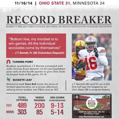 Ohio State at Minnesota - November 2014 Ohio State Football, Ohio State University, Ohio State Buckeyes, Football Newspaper, Wide Receiver, Minnesota, Baseball Cards, Football Season, Football Team