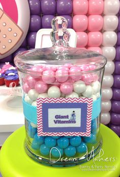 Candy jar at a Doc McStuffins birthday party!  See more party ideas at CatchMyParty.com!