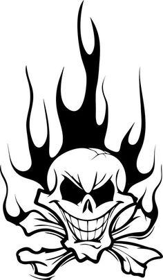 Vinyl Decal Skull in Flames sticker car window bumper motorcycle wall Skull Tattoo Design, Skull Design, Skull Tattoos, Key Tattoos, Foot Tattoos, Sleeve Tattoos, Tattoo Designs, Skull Stencil, Tattoo Stencils