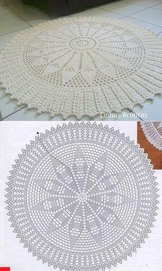Filet Crochet, Crochet Doily Rug, Crochet Doily Diagram, Crochet Rug Patterns, Crochet Carpet, Crochet Circles, Crochet Doily Patterns, Crochet Tablecloth, Crochet Round