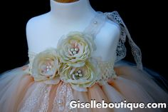 Flower Girl TuTu Dress.Ivory Vintage Lace with by giselleboutique