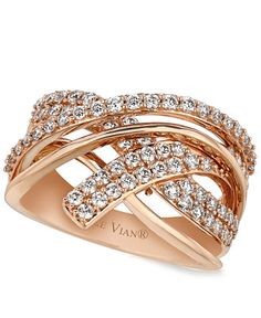 Le Vian Diamond Diamond Crossover Ring (9/10 ct. t.w.) in 14k Rose Gold   28 year anniversary?  i think, hell yeah!