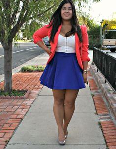 Orange and blue OOTD - blazer, skater skirt and nude heels