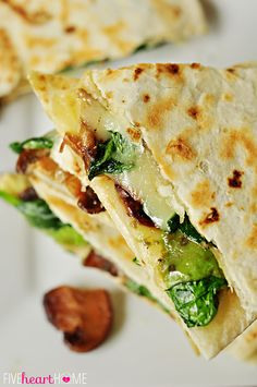 Spinach and Mushroom Quesadillas with Avocado and Pepper Jack Cheese