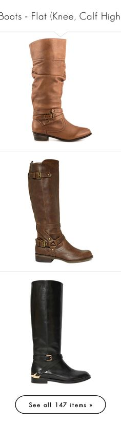 """""""Boots - Flat (Knee, Calf High)"""" by giovanna1995 ❤ liked on Polyvore featuring Boots, flat, knee, calf, shoes, boots, brown, brown slouch boots, cognac boots and leather slouch boots"""