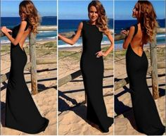 Sexy Backless O Neck Sleeveless Black Polyester Mermaid Ankle Length Dress