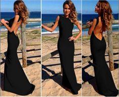 Sexy Backless O Neck Sleeveless Black Polyester Mermaid Ankle Length Dress