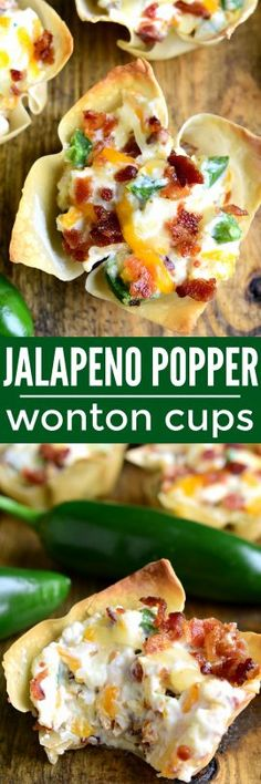 These Jalapeño Popper Wonton Cups are loaded with bacon. These Jalapeño Popper Wonton Cups are loaded with bacon jalapeños cream cheese cheddar cheese and sour cream.all in a crispy wonton shell! The perfect party or game day appetizer! Game Day Appetizers, Finger Food Appetizers, Easy Appetizer Recipes, Yummy Appetizers, Finger Foods, Appetizer Party, Wonton Recipes, Recipes Dinner, Kid Friendly Appetizers