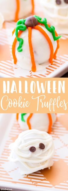 These adorable Halloween Cookie Truffles are so fun for fall! Cookies and cream cheese get mix together to make the filling of each truffle. When dipped in white almond bark and decorated for Halloween, these easy cookie truffles are sure to be a fav . Halloween Themed Food, Halloween Drinks, Halloween Goodies, Halloween Desserts, Halloween Cakes, Holiday Desserts, Holiday Treats, Halloween Treats, Halloween Fun