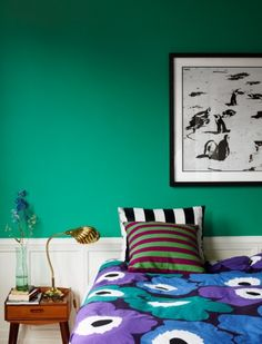 green, marimekko, brass shell lamp...  Photographer  Idha Lindhag