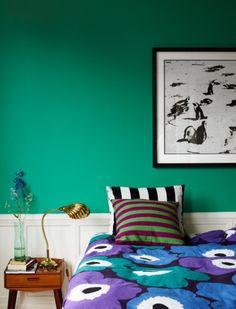 green, marimekko, brass shell lamp...  Photographer  Idha Lindhag