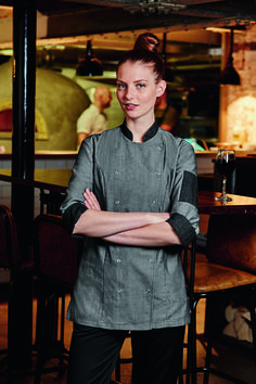 Make a statement in chef's uniforms with a modern edge. In grey and black denim…