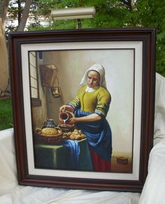 Vintage Original Reproduction Painting // The Milkmaid Kitchen Maid // by Johannes Vermeer // Framed Matted by therecyclingethic on Etsy