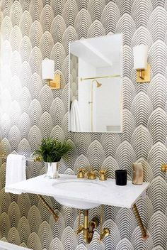black rooms black and ivory scallop wallpaper in bathroom