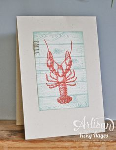 Stampin' Up ideas and supplies from Vicky at Crafting Clare's Paper Moments: Tray lobster using By the Tide by Stampin' Up