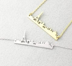 Pray for Paris Necklace / Paris City Skyline Necklace - Gold, Rose Gold & Silver - Rosa Vila Jewelry  - 1