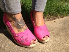 Comfy wedges with hand painted cherry blossoms with open toe for women only $32.99