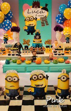 Festa, Minions, Meu Malvado Favorito, Decoração, Pink Ateliê de Festas, Party, Decoration, Boy