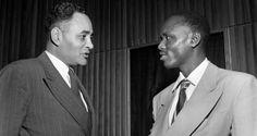 Miembro de la tribu Wa Meru de Tanganika (actual Tanzanía) con Ralph Bunche (izquierda) en 1963. (Foto de la ONU) Tanzania, Single Breasted, Suit Jacket, African, Hero, Suits, History, Fashion, Moda