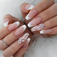 34 Luxury Coffin French Tip Nail Designs - french tip nails - French Tip Nail Designs, Acrylic Nail Designs, Nail Art Designs, Nails Design, Unique Nail Designs, French Tip Design, Prom Nails, Wedding Nails, Bridal Nails